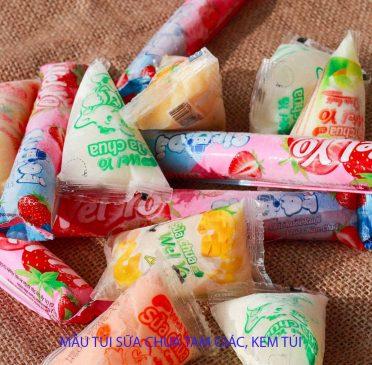 Đóng gói sữa chua tam giác kem túi